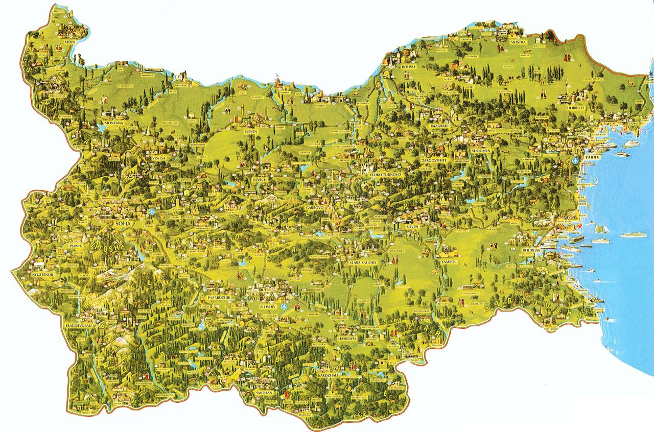 Nature On The Map Maps of Bulgaria, Tourism, Historical Sites, Monasteries, Nature